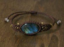 ラブラドライト 天然石 マクラメ編みブレス