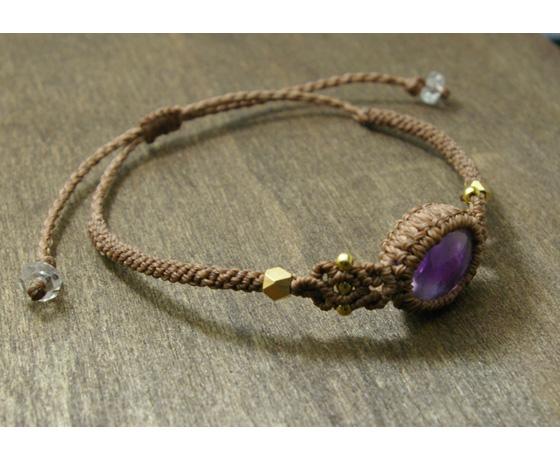 天然石アメジスト マクラメ編みブレスレット