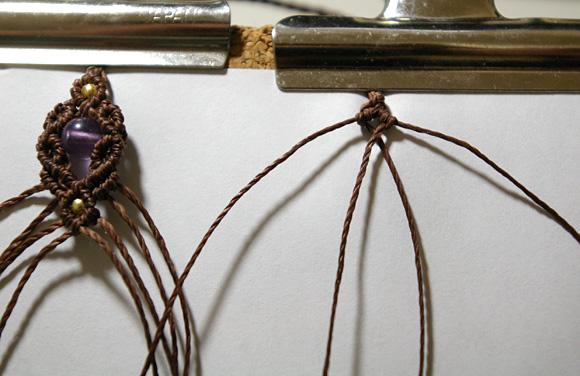 マクラメ編みネックレス先端 レシピ