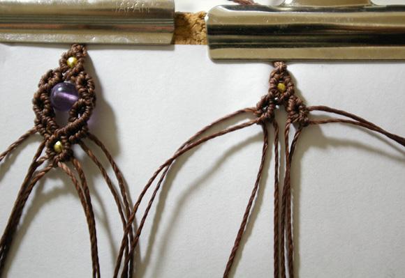 マクラメ編みレシピ 四つ編みネックレス エンド部分