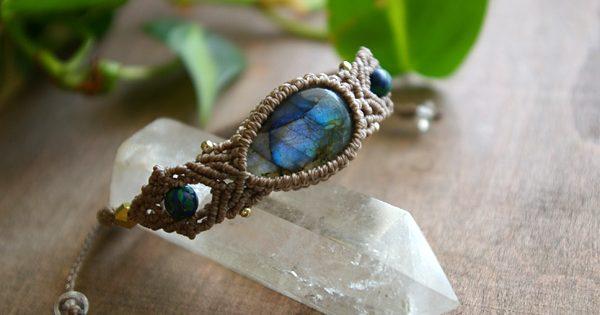 マクラメ編みブレス ラブラドライト 天然石