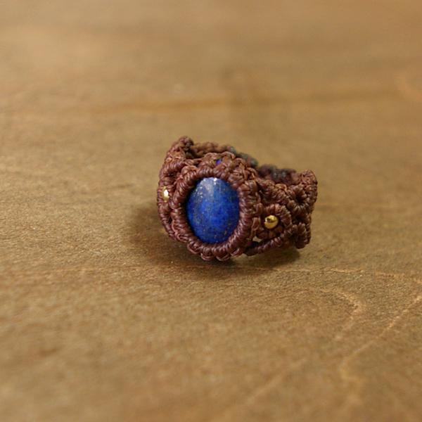 ラピスラズリ マクラメ編みリング・指輪