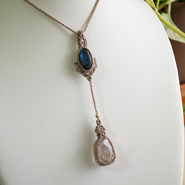 ハーキマーダイヤモンド(水晶原石)マクラメ編みペンダント