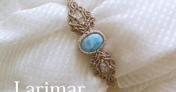 ラリマー(ドミニカ共和国)マクラメ編みブレスレット