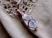 マクラメアクセサリー 水晶原石